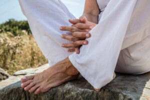 feet and hands in relaxing position